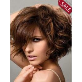 Medium Length Human Hair Wavy Wig