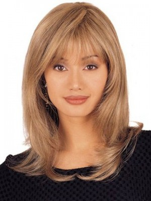 Mid Length Lace Front Layered 100% Human Hair Wig