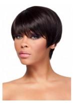 Boycuts Straight Short Human Hair African American Wig