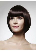 Straight Short Bob Human Hair Wig With Bangs
