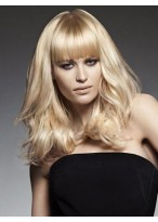 Blonde Medium Length Wavy Capless Synthetic Wig